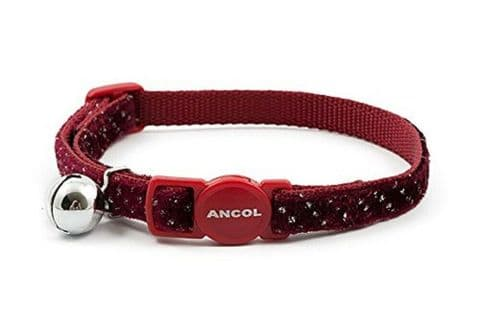ANCOL SPARKLE REFLECTIVE RED SAFETY RELEASE CAT COLLAR WITH BELL